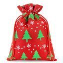 Jute gift bag with print (red / christmas tree)
